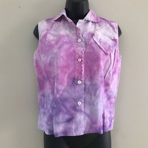 Ice Tie Dyed Sleeveless Vintage 1940s Blouse Med